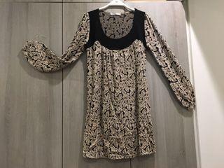 韓國織花植絨短洋裝