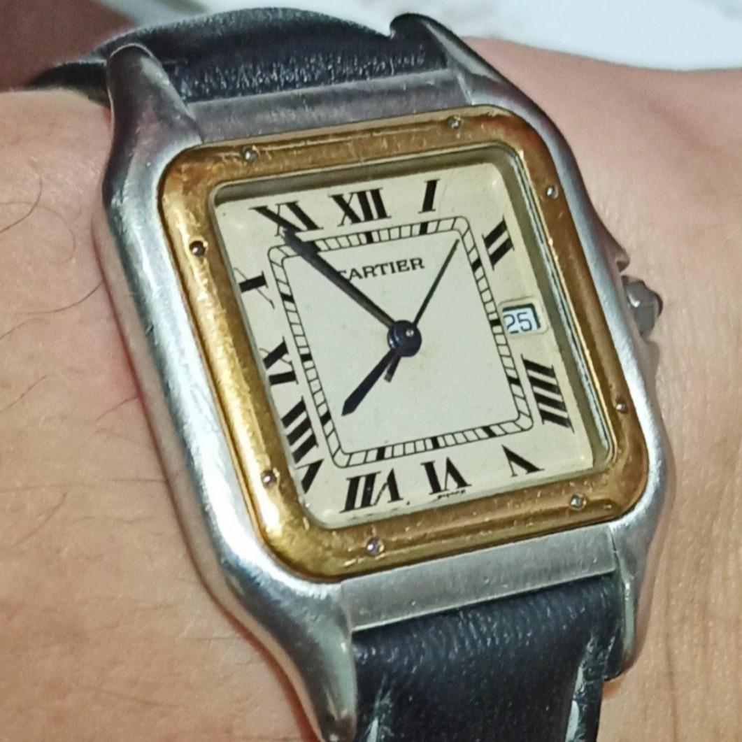 [Box & Cert] Cartier Santos with Cream Patina - Large Gentleman's Size (not a Tank, Ballon Bleu, Drive, or Cle)