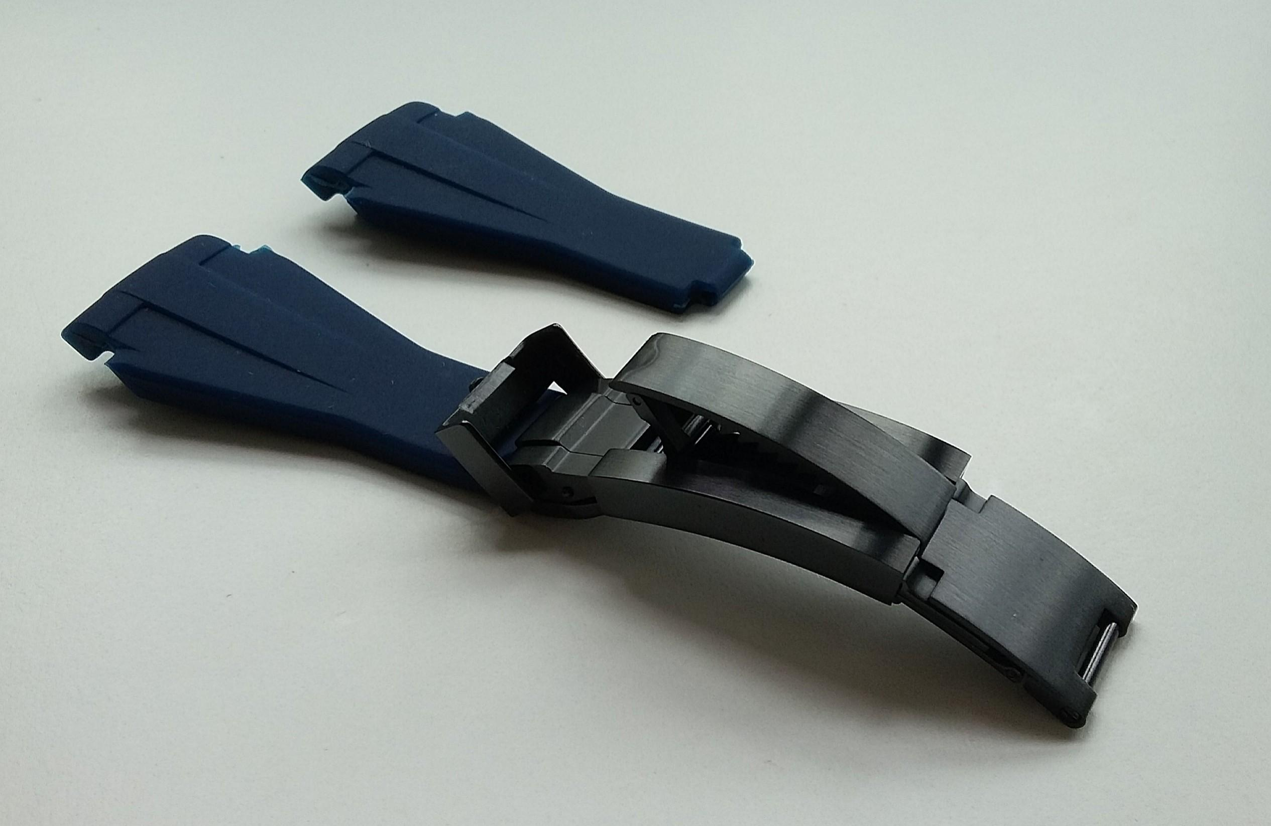 21mm NAVY BLUE VULCANISED RUBBER WITH PVD MATT BLACK STEEL GUIDELOCK CLASP FOR ROLEX DEEPSEA DWELLER (PRICE INCLUDES FITMENT)