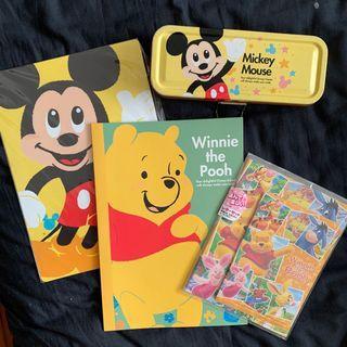 迪士尼 米奇 小熊維尼 文具 4件組 筆記本 鉛筆盒 墊板 信紙組