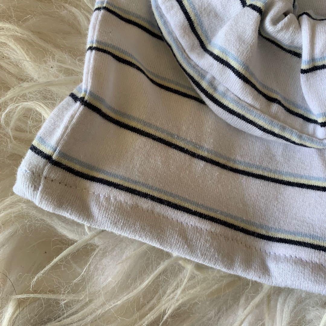 white striped cropped polo w/ scrunchie