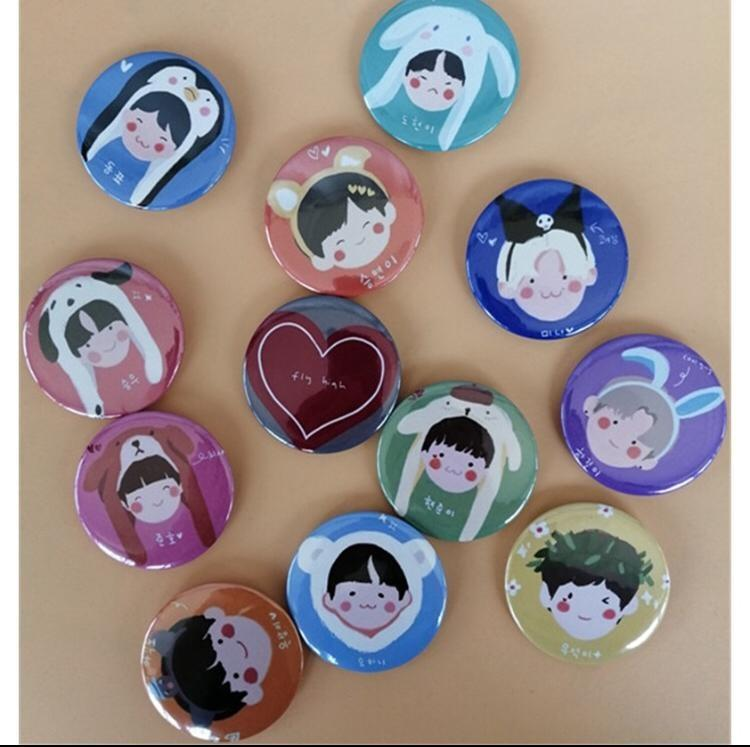 X1 Group Offical Same Cartoon Q Image Badge Round Brooch