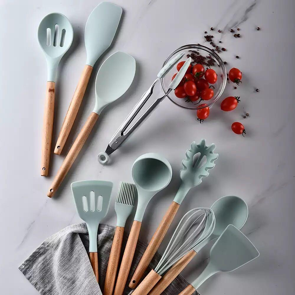 9 Styles 1PC Silicone Wooden Kitchen Cooking Utensils Set Tools Spatula Spoon