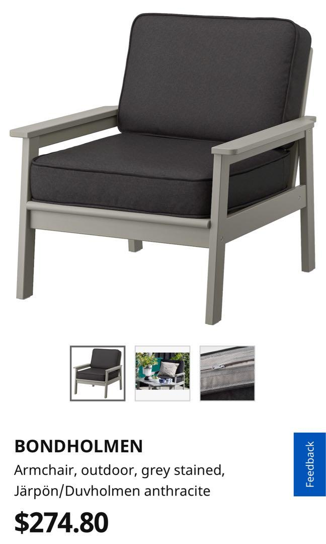 2 Ikea Bondholmen Outdoor Armchairs With Anthracite Cushions Furniture Tables Chairs On Carousell
