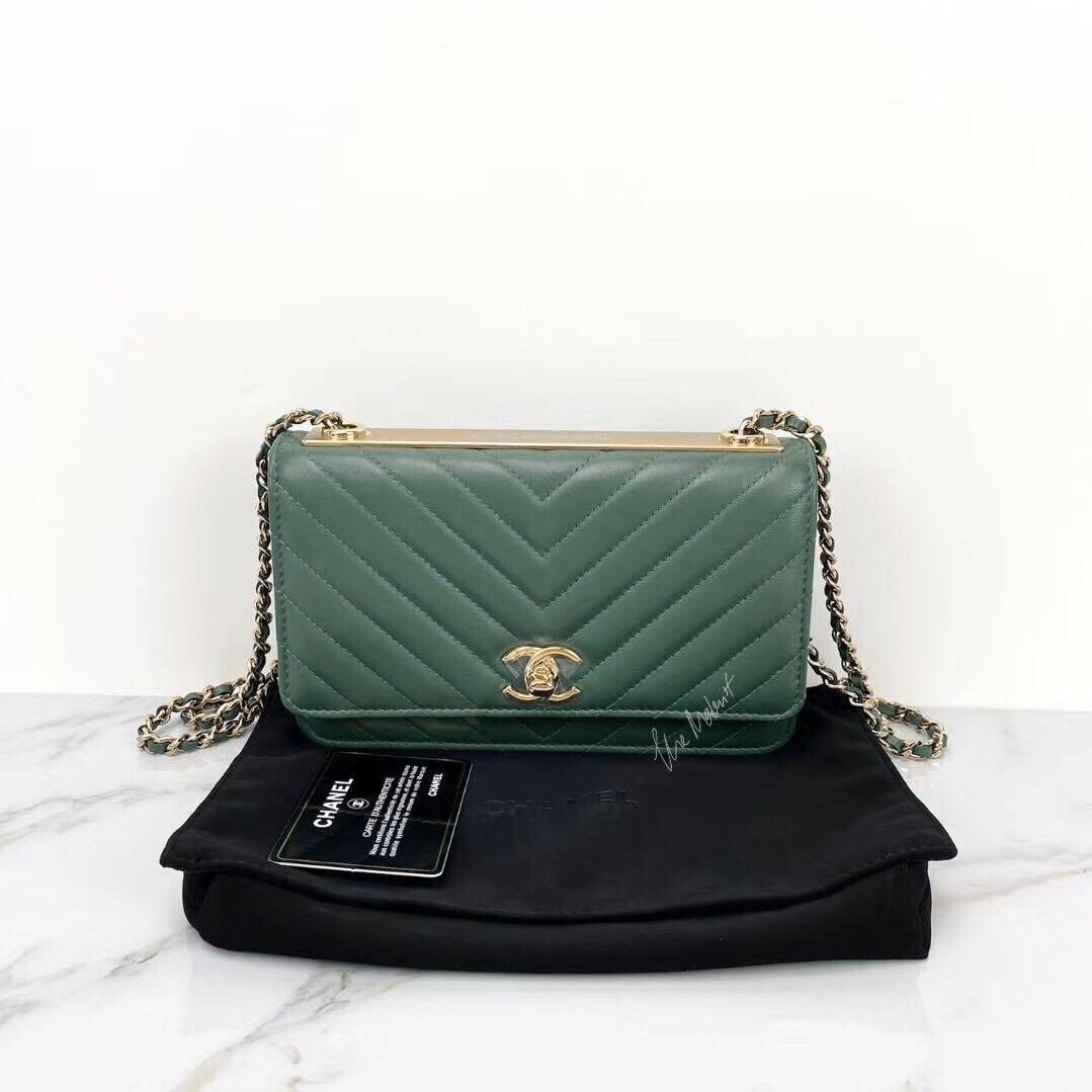 Authentic Chanel Trendy CC Emerald Green Lambskin Gold Hardware Chain Shoulder Bag