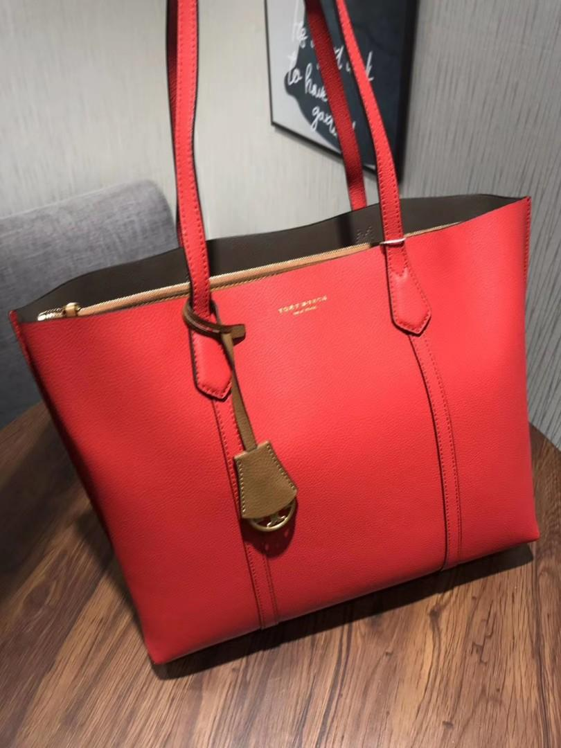 Authentic Tory Burch perry triple compartment totes shoulder bag handbag chilli red