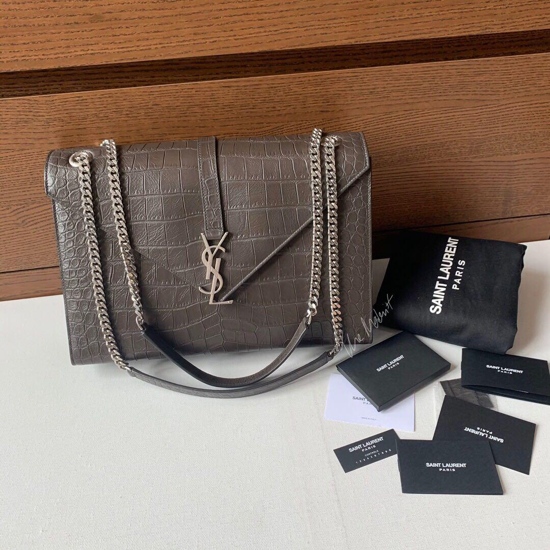 Authentic YSL Saint Laurent Monogram Grey Croc Embossed Leather Shoulder Bag