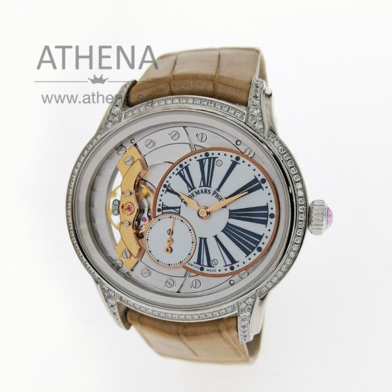 "18K WHITE GOLD AUDEMARS PIGUET MILLENARY ""MOP DIAL / ORIGINAL FACTORY DIAMOND SETTING ON BEZEL & LUGS"" WITH BOX & CERT 77247BC.ZZ.A813 (LOCAL AD) JWWAP_016"