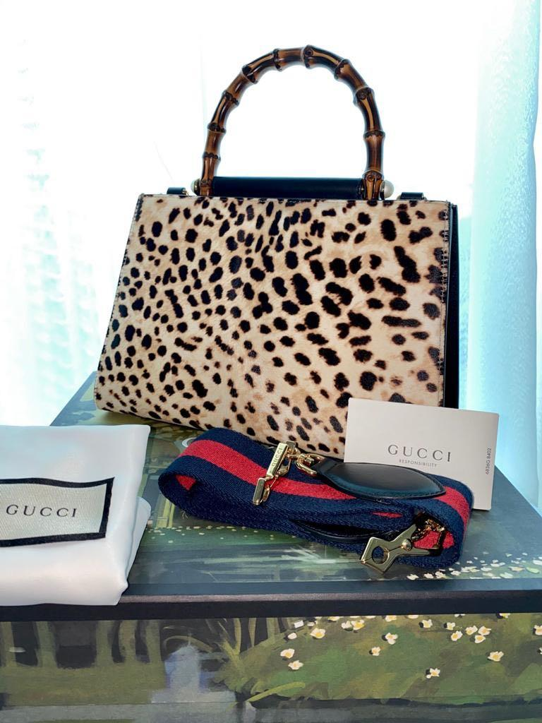 "Gucci - ""SPECIAL OFFER"" - Nymphaea Leopard Print, Bamboo Handle, Black Leather Handbag - FREE GUCCI SANDALS Worth $265"