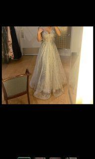 SILVER CRYSTAL PROM DRESS/ BALL GOWN