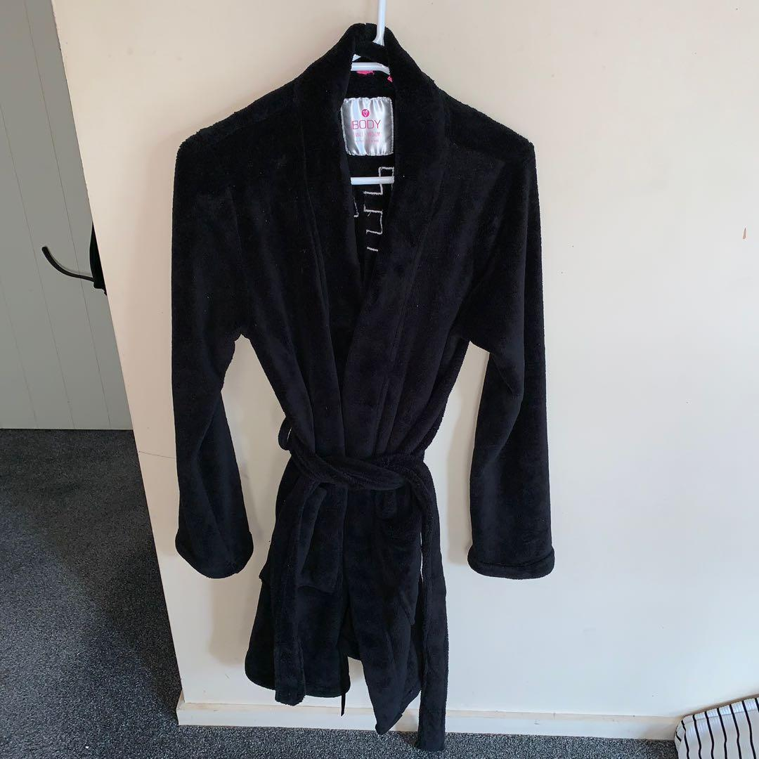 Size S/M fluffy black robe