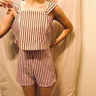 紅白條紋寬肩帶連身褲 洋裝
