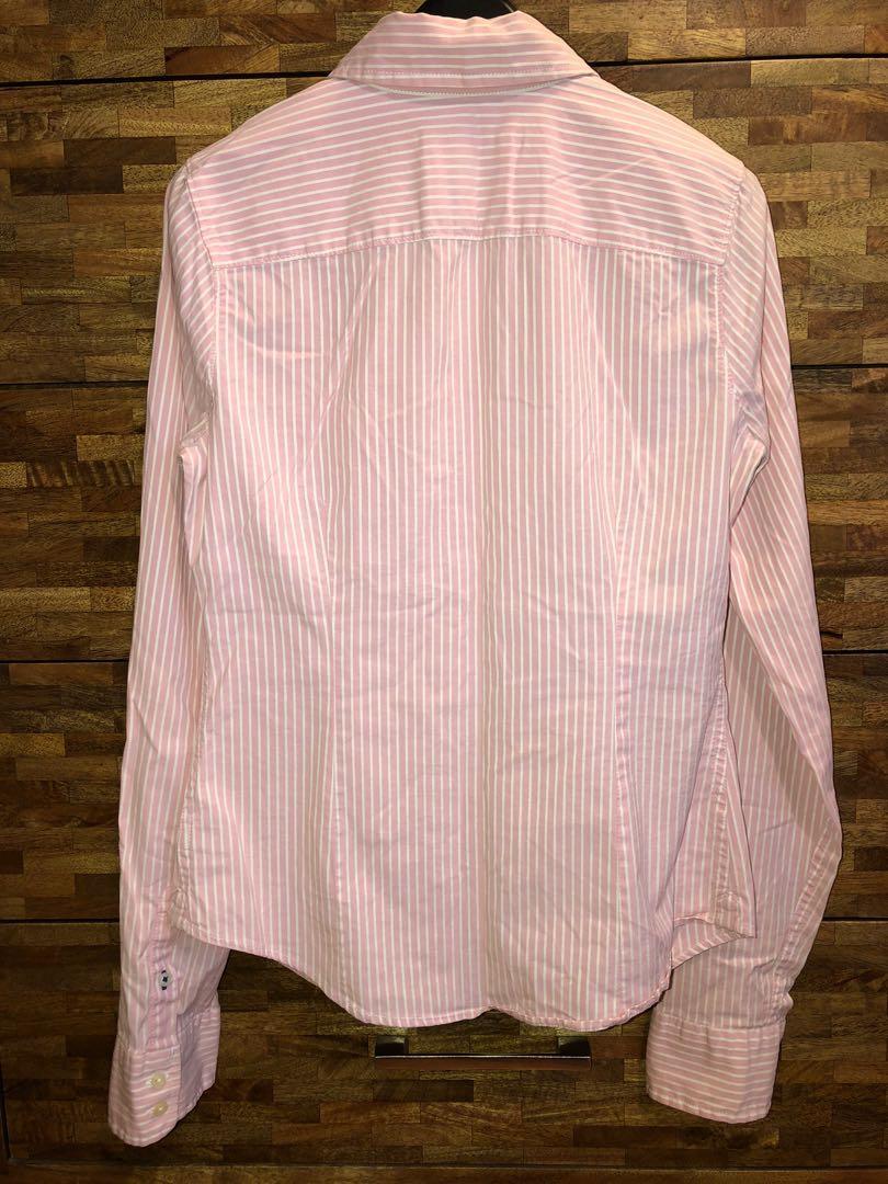 Abercrombie & Fitch Stripe Dress Shirt Girlfriend Fit Size M