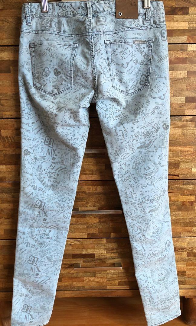 Armani Exchange Graffiti Print skinny jeans size 2