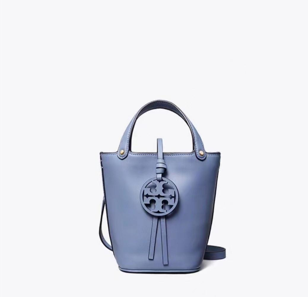 Authentic Tory Burch mcgraw bucket bag in sky blurme summer collection handbag