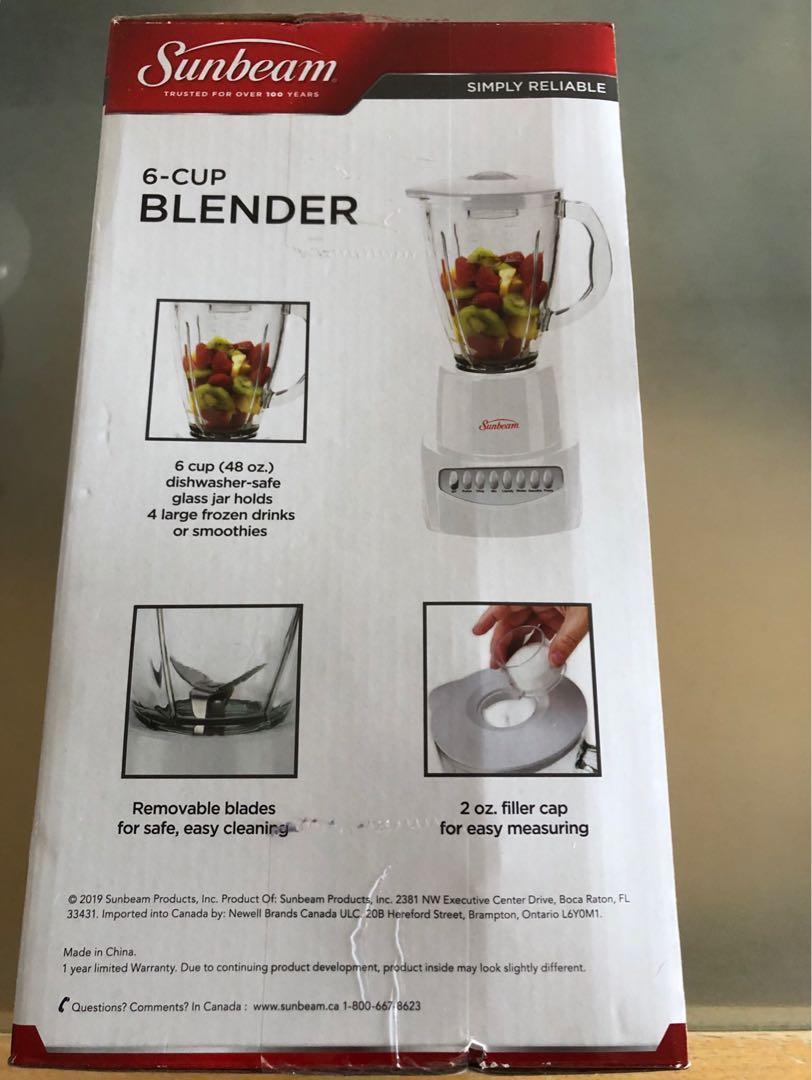 Brand New in box Sunbeam 6 Speed 6 cup Glass Jar Blender $28