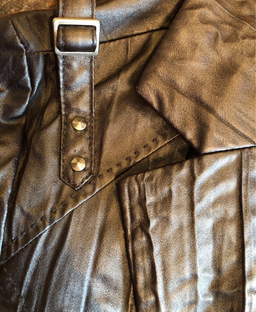 Guess Faux Leather Cropped Jacket Wrinkle effect size Medium