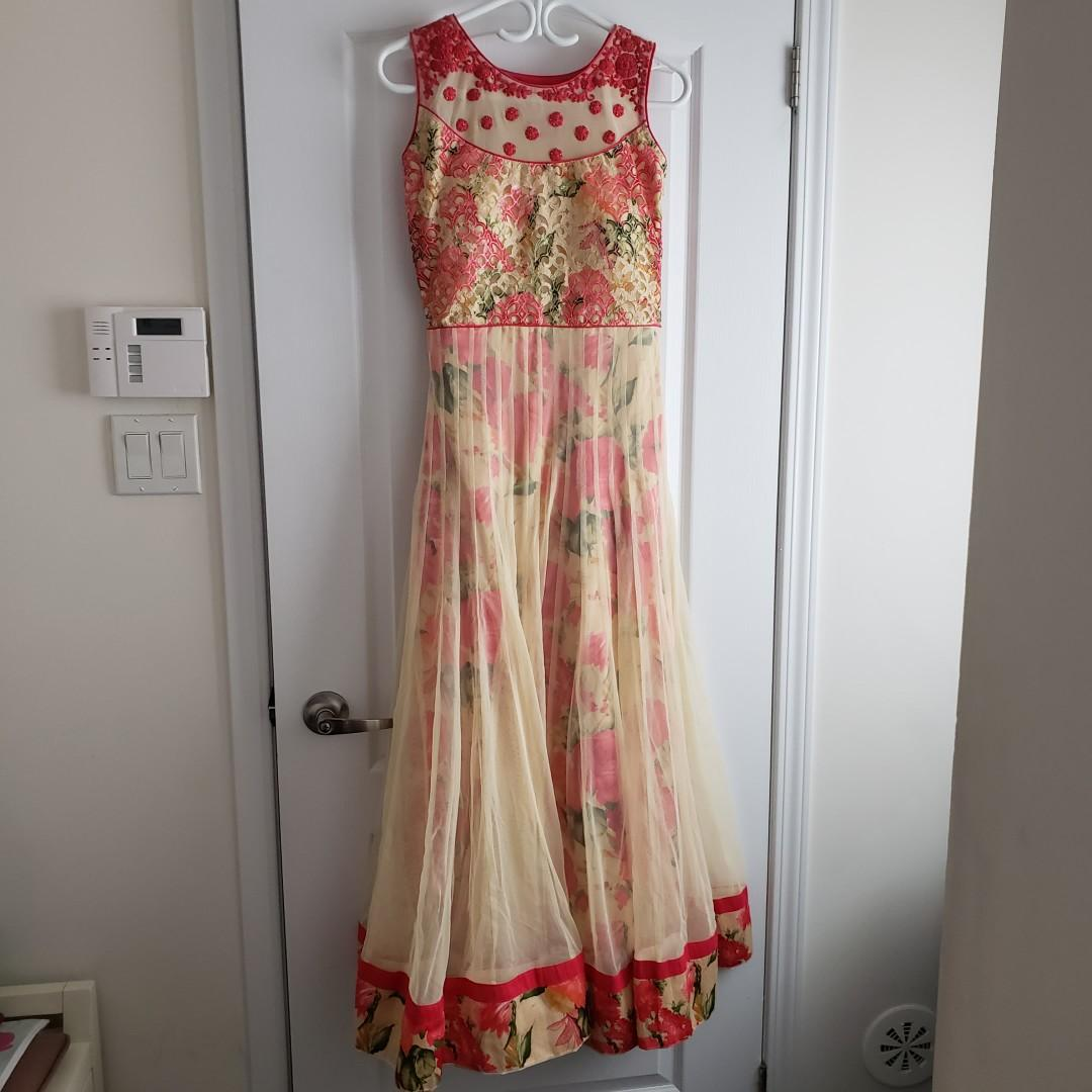 Indian Floral Netted Full Length Anarkali Suit Dress XS/S