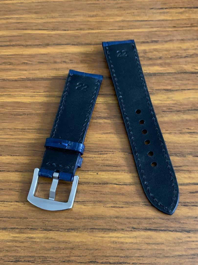 [DISCOUNTED] 22mm/20mm Authentic Monaco Blue Crocodile 🐊 Alligator Watch Strap - (croc belly scales, once sold no more😊)     Standard length- L:120mm S:75mm