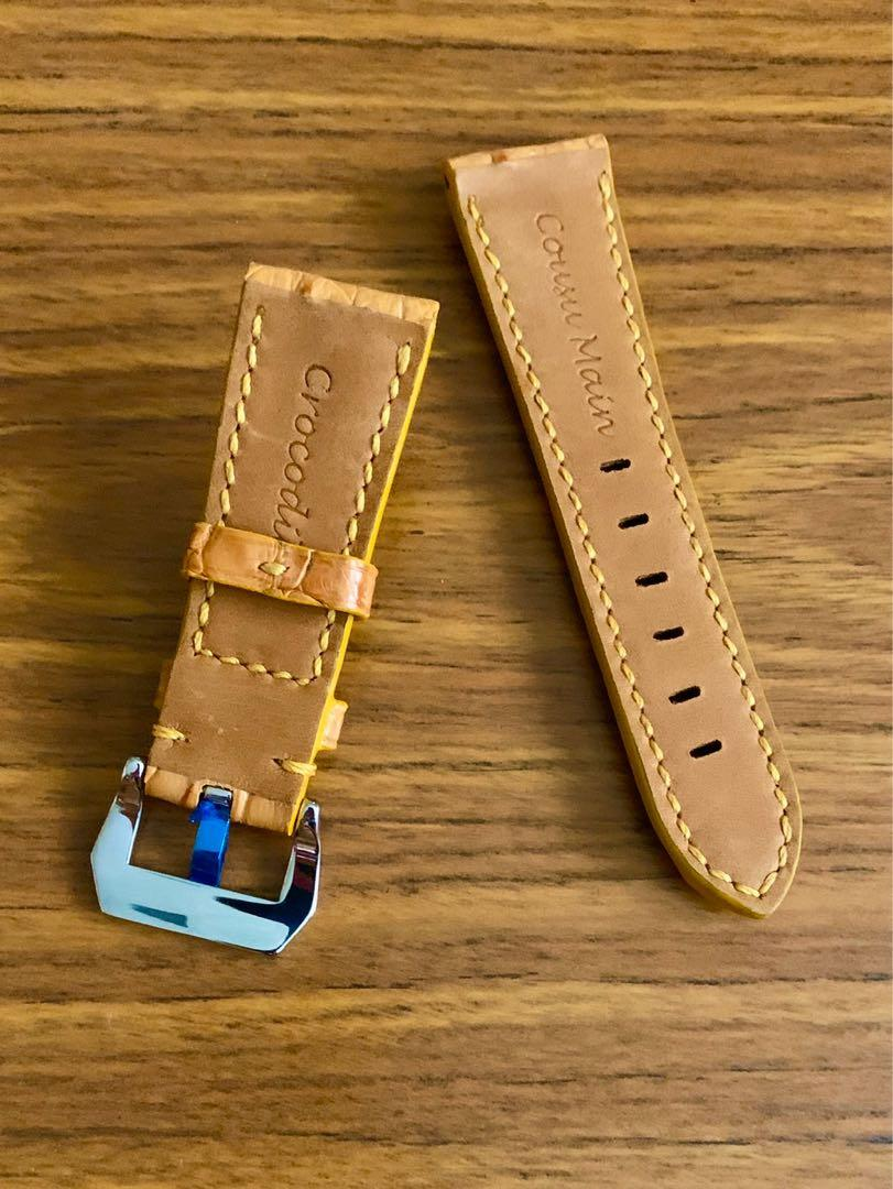 26mm/22mm Authentic Very Scarce True Hornback Golden Tan Brown Crocodile 🐊 Alligator Leather Watch Strap - (only piece, once sold no more 👍🏻😊) (Standard length: L-120mm, S-75mm)