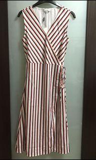 LOVE BONITO Stripes V Neck Midi Wrap Dress (Cream)