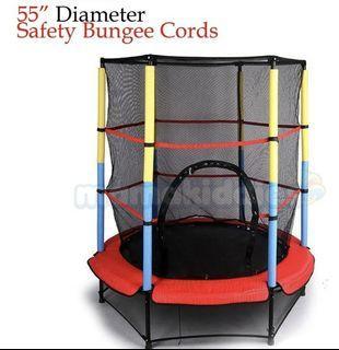 "Mamakiddies 55"" Round Kids Mini Trampoline Enclosure Net Pad Outdoor Exercise"