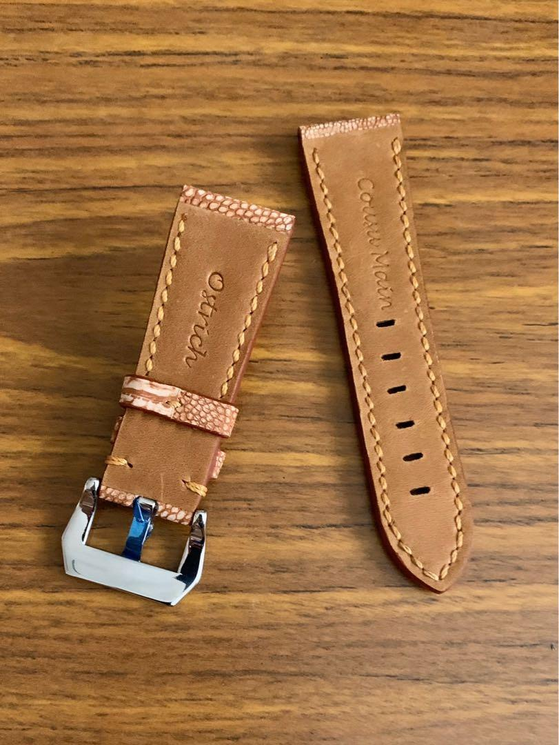 26mm/22mm Authentic Unique and Very Scarce Whiskey Brown Ostrich Leg Leather Watch Strap - (NUBUCK texture-tanned, only one piece, once sold no more 👍🏻😊) (Standard length: L-120mm, S-75mm)