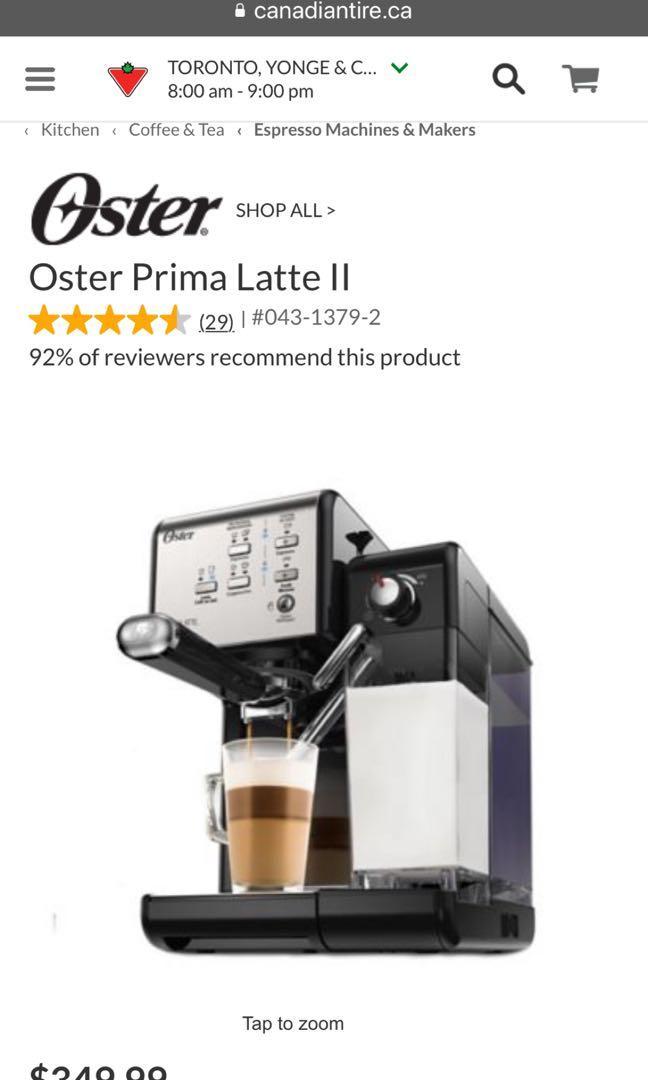 Oster Prima Latte 19 Bar Italian Pump Espresso Latte Maker$200