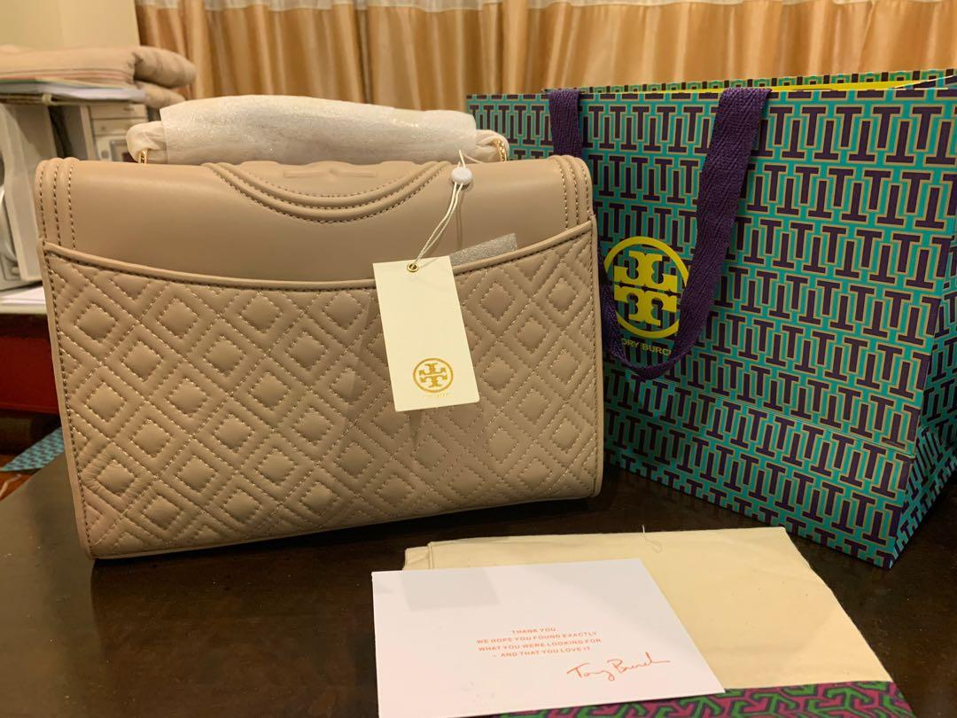 Ready Stock authentic Tory Burch convertibles sling bag crossbody handbag bedrock Fleming craft leather with chain