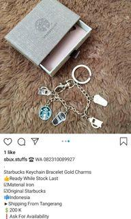 Starbucks Keychain Bracelet Gold Charms