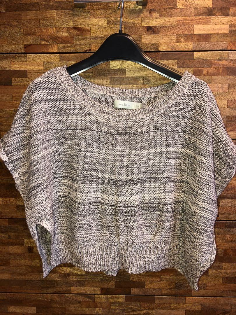 Trendy Light Knit Crop Short Sleeve Sweater size m