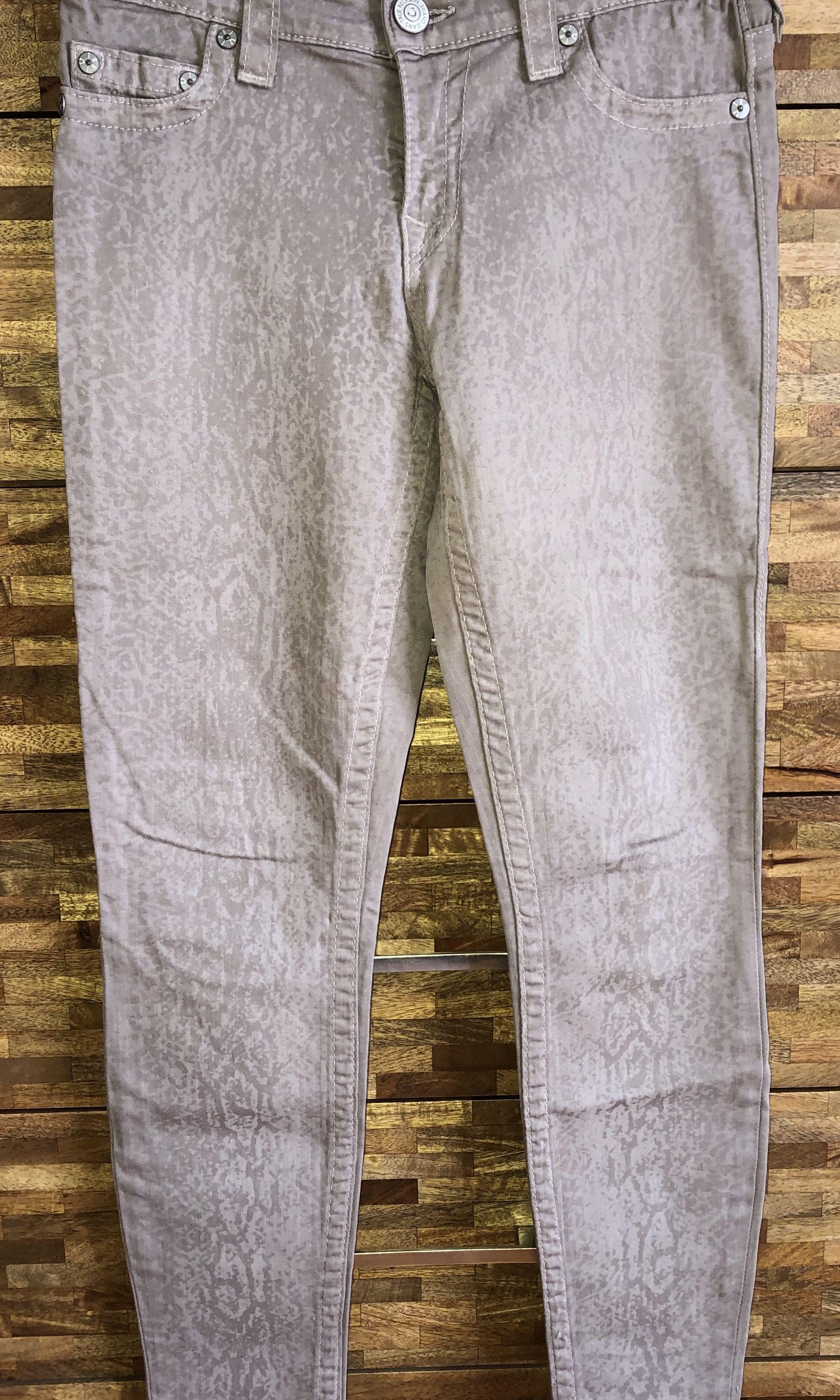 True Religion Subtle Snake Print Grey Jeans Size 27 made in USA