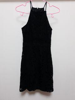 TTR Black Halter Neck Crochet Dress