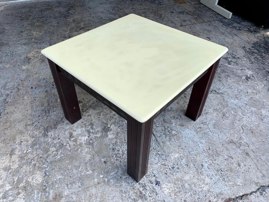 香榭二手家具*胡桃木腳 大理石方形小茶几-矮桌-茶几桌-邊桌-邊几-泡茶桌-石面桌-和室桌-客廳桌-沙發桌-轉角桌-2手