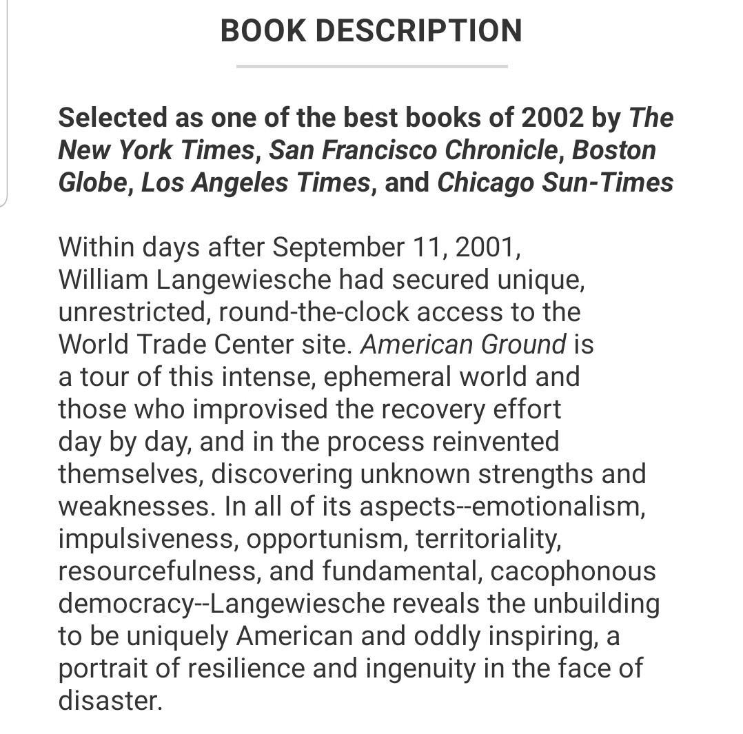 American Ground: Unbuilding the World Trade Center by William Langewiesche (used book)