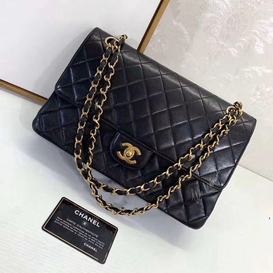 Authentic Chanel Vintage Medium Double Flap Black Lambskin 24K Gold Hardware Edge Stitching
