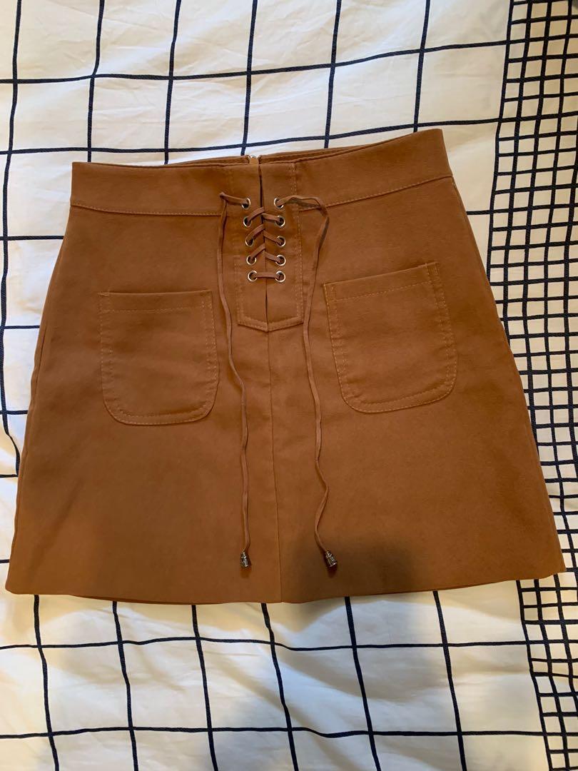 Brown Knee length A-Line skirt