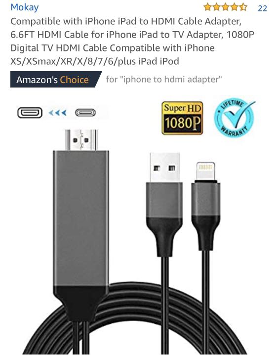 6.6ft iPhone to HDMI Adapter Connector 1080P HDTV Cable Apple MFi Certified Digital AV Adapter Cord for iPhone//iPad//iPod to TV Projector Monitor Compatible with iPhone iPad to HDMI Adapter Cable