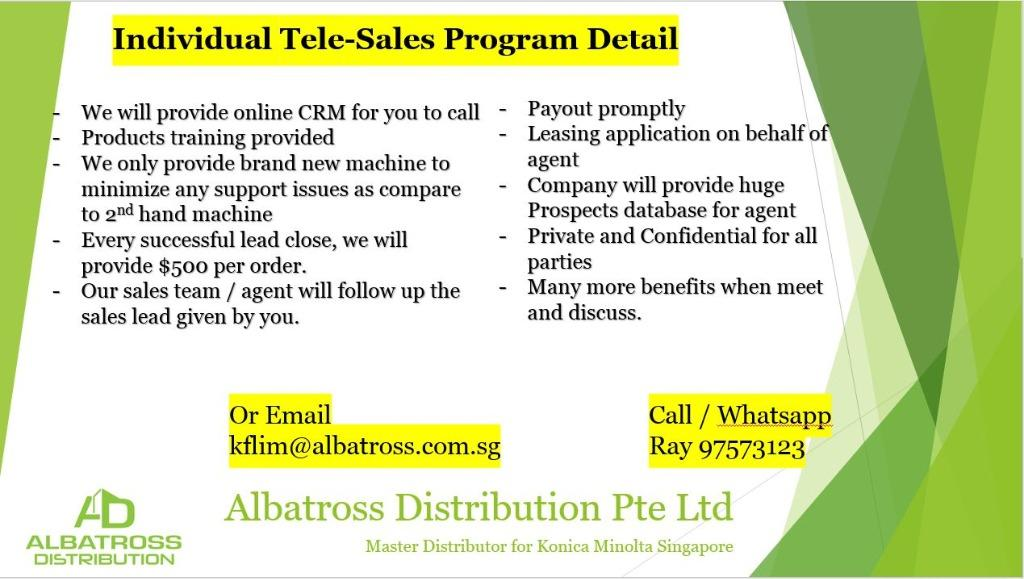 Freelance Tele-Sales for Office Copier and Printer