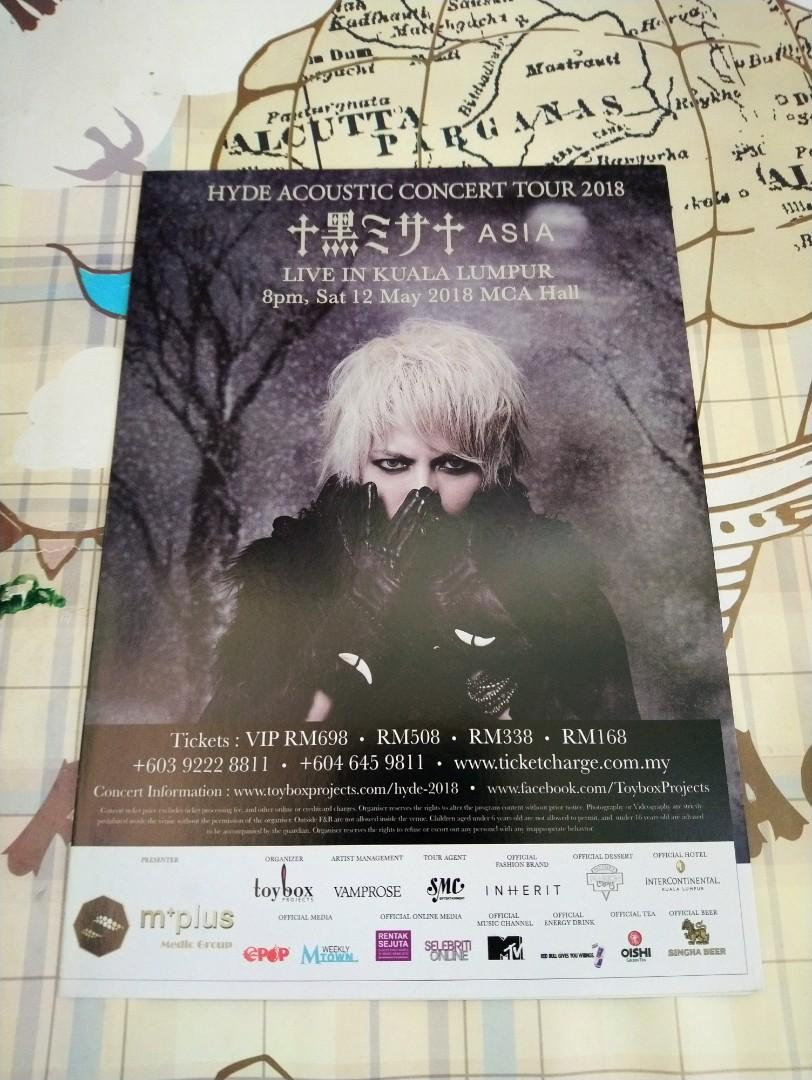 JAPAN ROCK SINGER-HYDE:ACOUSTIC CONCERT TOUR ASIA(黒ミサ)LIVE IN MALAYSIA 2018-DM flyers(100% official original大马绝版)