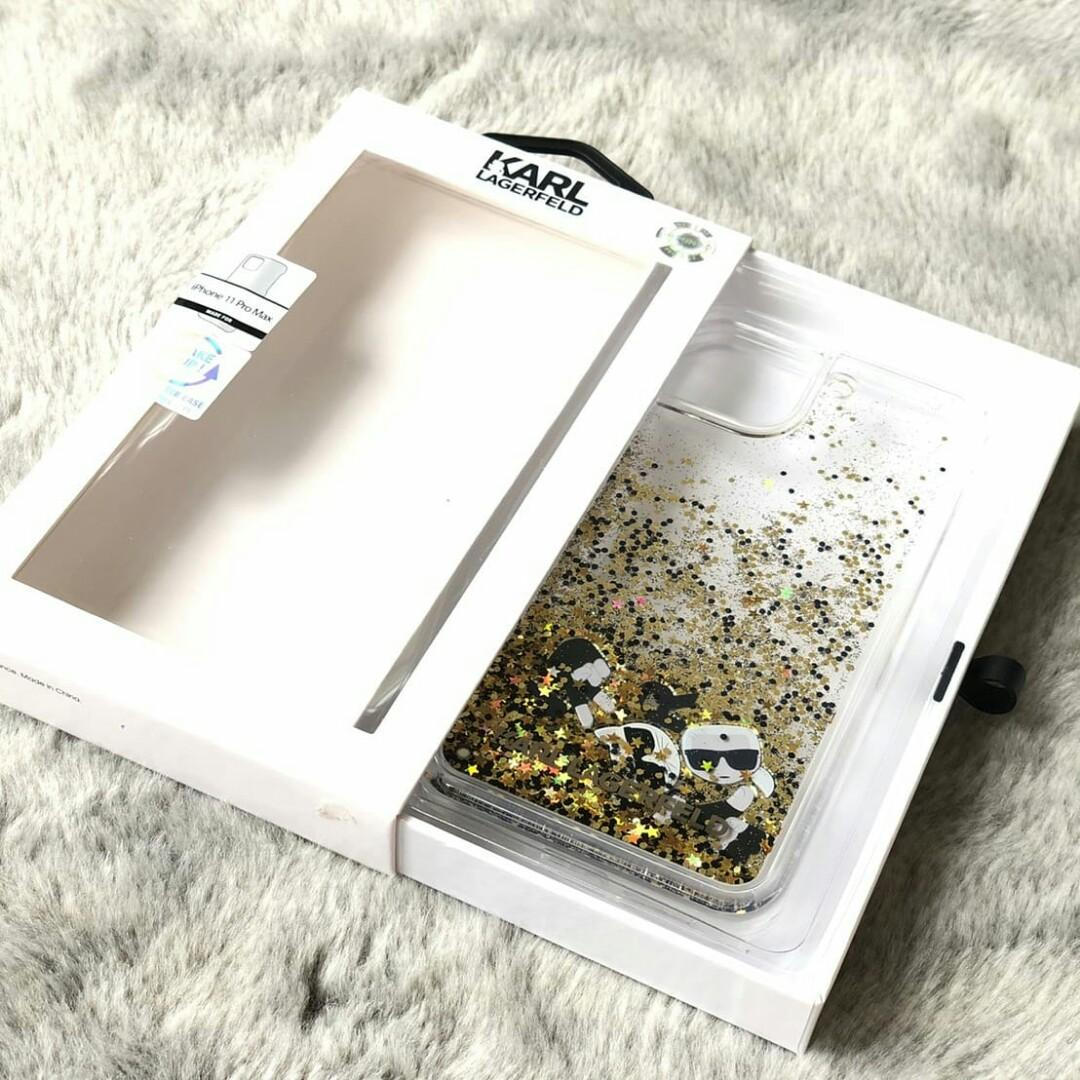Karl Lagerfeld Iphone Case Transparant Glitter Float in:  -Gold Ip 11 Pro Max  1.100.000