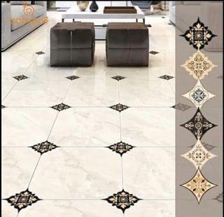 (Pre order)21PCS/Set Tile Diagonal Stickers Floor Tiles Ceramic PVC Stickers  8 x 8cm Self-adhesive removable