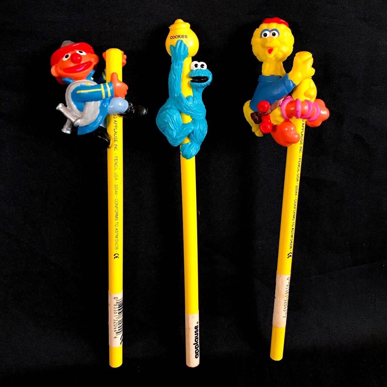 Vintage 1994 Applause SESAME STREET PVC Pencil Huggers Cookie Monster, Ernie, Big Bird - Php 175 each