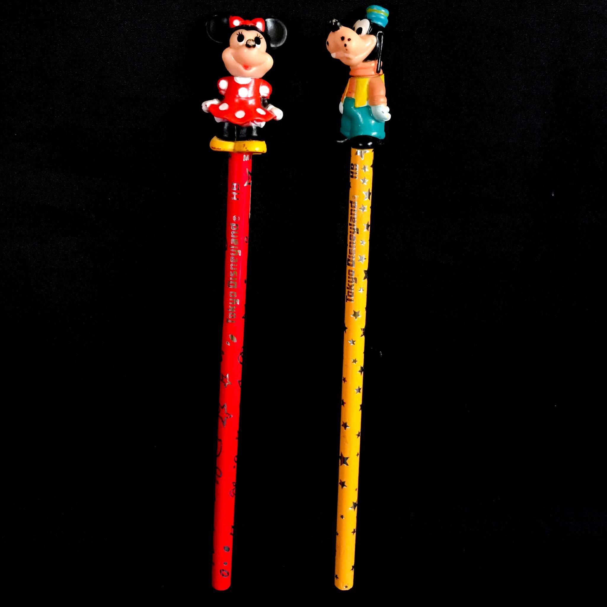 Vintage Tokyo Disneyland Minnie Mouse and Goofy pencil w/topper - Php 100 each