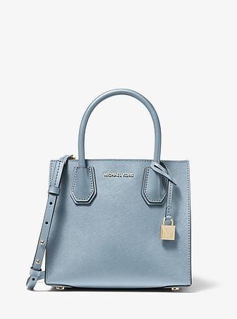 100% Guarantee Authentic Michael Kors Mercer Medium Saffiano Leather  Accordion Crossbody Bag