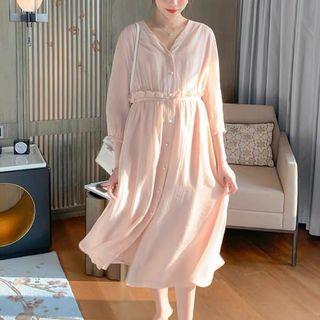 超美孕婦裝 V領雪紡中長洋裝 有口袋 淡粉色S號