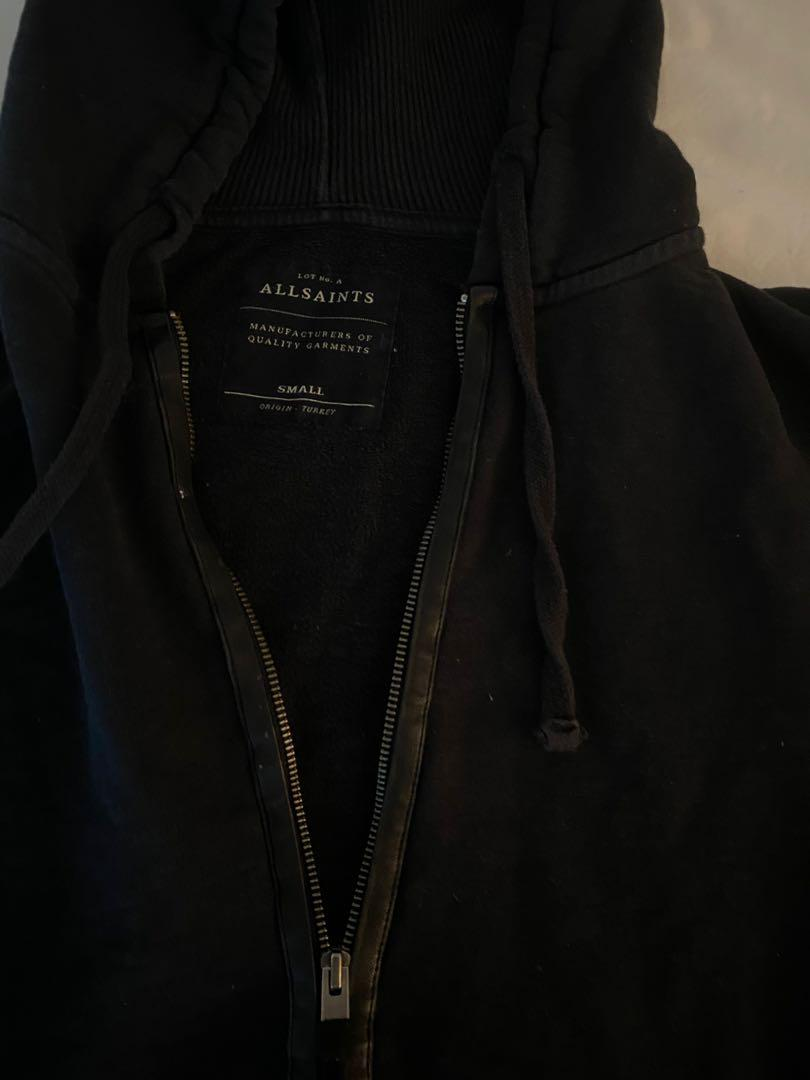 All Saints Black Zip Hoodie with Leather trim - Size Small