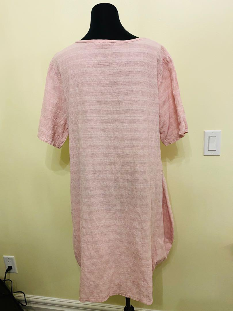 Baby pink 100% linen dress made in Italy size S/M/L