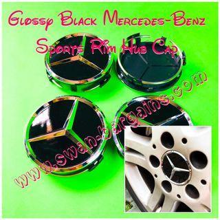 666 MATTE 4pcs Mercedes Benz Alloy Wheel Centre Caps 75mm Badges BLACK Hub Emblem
