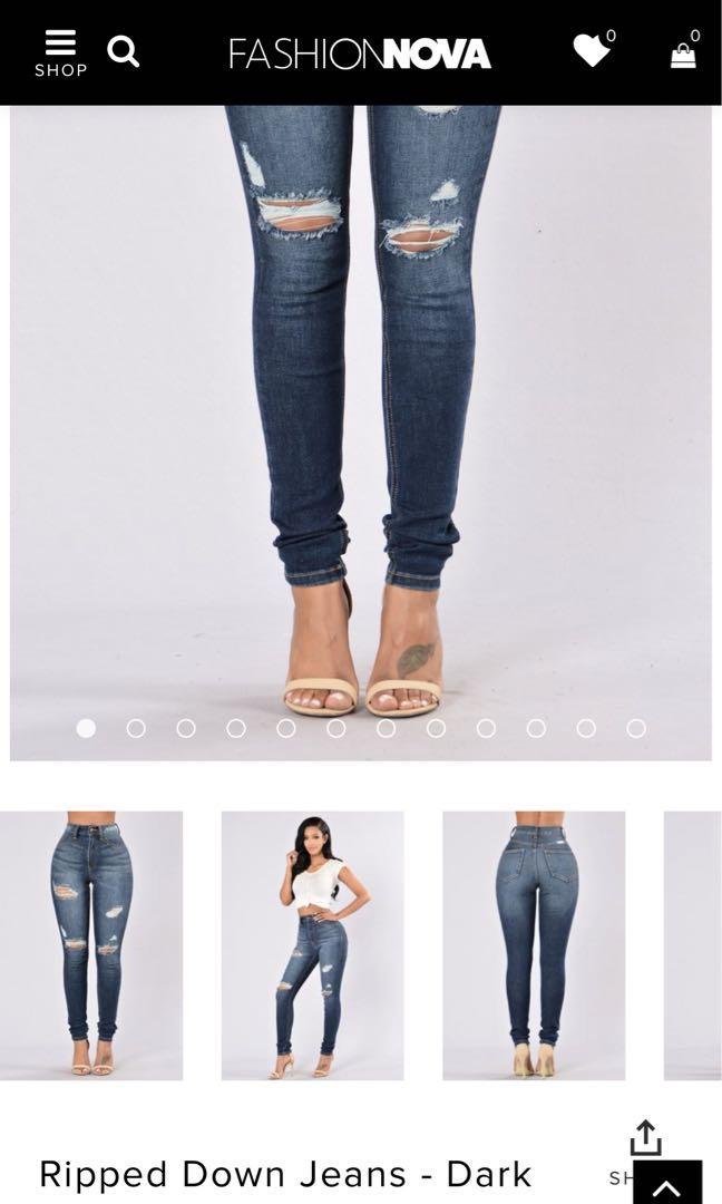 Fashionnova dark faded jeans size 3 (fits like a 4)